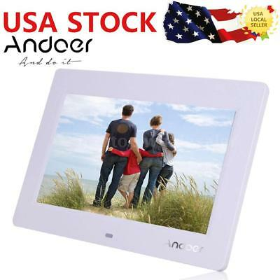 """Digital Photo Frame 10"""" LCD Picture Calendar Clock MP3/4 Movie Player White Y8B5"""