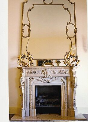 Beige French 19th century Antique Marble Fireplace