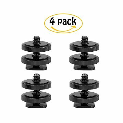 "Camera 1/4""-20 Flash Hot Shoe Mount Adapter w/ Double Nuts to Tripod Screw Co..."