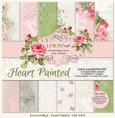 "Set Scrapbooking paper, Motivpapier 30 x 30 cm ""Heart Painted"" + Basic + Knöpfe"