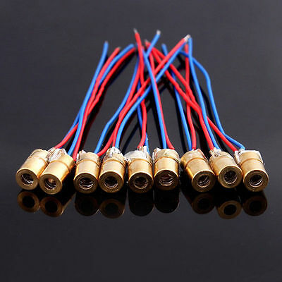 10X Mini Laser Diodes Dot Module 650nm 5mW 5V Wired Metal Heads 1st Class UK P&P