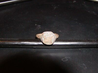 Ancient Roman Bronze Ring 100AD-300AD -Beautiful! Amazing pattern on crown.