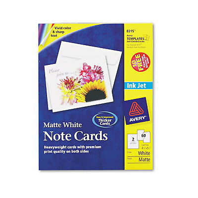 Avery Note Cards for Inkjet Printers 4 1/4 x 5 1/2 Matte White 60/Pack w