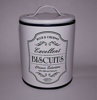 New Storage Tin Biscuits Canister Jar Vintage Inspired Ivory Off White