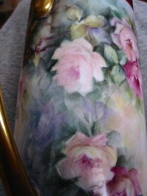 Antique Hand Painted Roses Porcelain Pitcher Signed