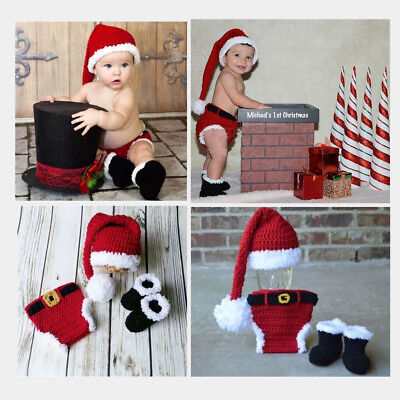 Newborn Infant Christmas X-mas Santa Baby Crochet Knitted Costume Hat Outfit