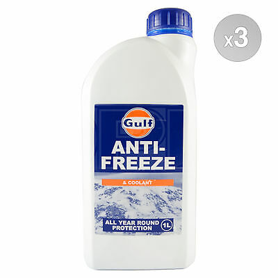 Gulf Anti Freeze & Coolant Concentrate 3 x 1 Litre 3L