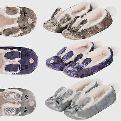 Ladies Women Girls Velvet Faux Fur Bunny Ears Slippers Soft Sole Indoor Comfort