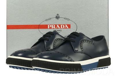 New Prada Men's Blue Wing Tip Detail Logo Casual Sneakers Shoes 7.5/us 8.5