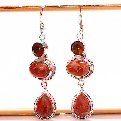 """Red Copper Turquoise Gemstone 925 Silver Jewelry Earring 2.54"""""""