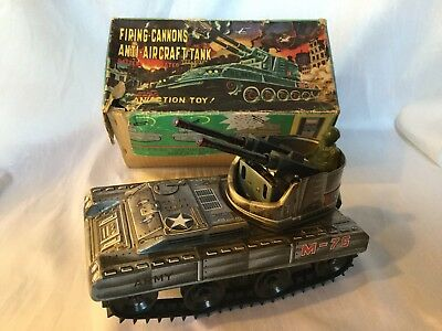 Okuma Anti Aircraft Tank M - 75 Vintage Tin Toy Japan Boxed