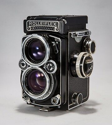 Rolleiflex 2.8E 80mm TLR Camera w/ Leather Case & Manual Military 120 Vintage