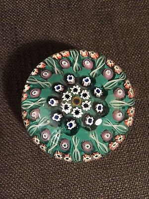 Green Pink & White 20th Century Cartwheel Millefiori Paperweight