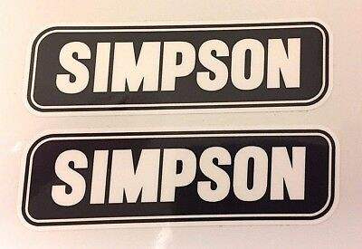 2 x SIMPSON White on Black Helmet Stickers/Decals 50mm - Printed and Laminated