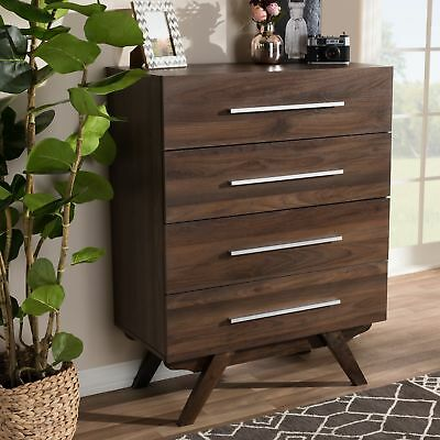 Mid-Century Walnut Brown 4-Drawer Chest By Baxton