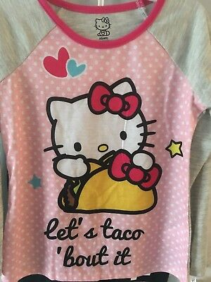 "New ""hello Kitty""  Winter Girls Snacks Taco Printed  Pajamas Set Size 4/5  Nwt"
