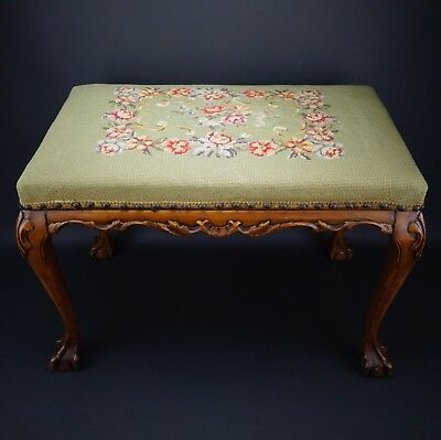Antique Walnut Victorian Floral Needlepoint Tapestry Craved Foot Stool Bench