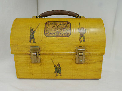 "Vintage 1970s Decoupage Metal Lunchbox Handbag ""Folk Art"" explorers theme purse"