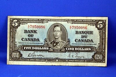 1937 $5.00 Bank of Canada Note Gordon & Towers