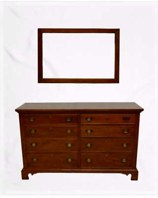 Craftique Solid Mahogany Chippendale Style Chest of Drawers Dresser w. Mirror