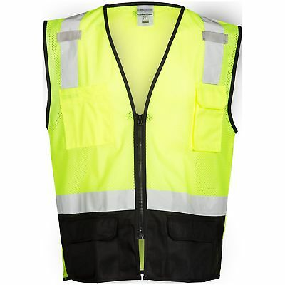 ML Kishigo Class 2 Reflective Black Bottom Safety Vest, Yellow