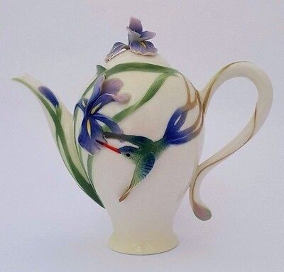 FRANZ Porcelain HUMMINGBIRD and IRIS Coffee Pot in Superb Condition