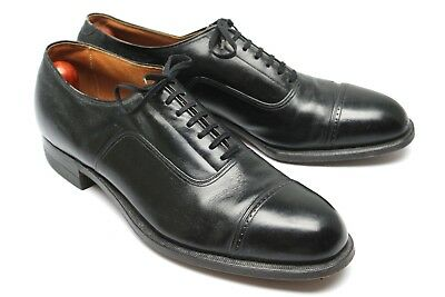 VTG 1940s Freeman Spade Sole Cap Toe Oxford 11 D Black Leather Straight Balmoral