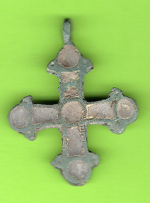Russia Kiev type Bronze Enamel Cross Pendant Viking time 10-12th 480
