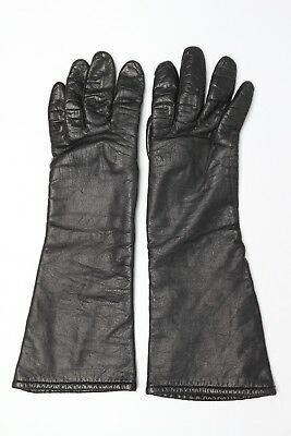 VTG Lord Taylor Wool Lined Leather Gloves 6.5 Long Black Made in France Used