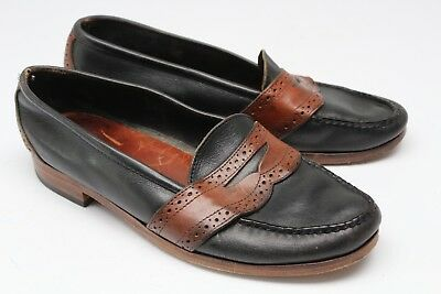 Polo Ralph Lauren Full Strap Penny Loafers 10 D Black Brown Leather Maine USA