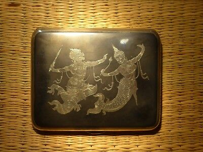 Superb Solid Silver Siam Thai Cigarette Case Beautiful Design Buddhist Temple
