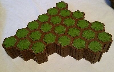 Heroscape terrain lot, six 24 hex grass tiles for battlefield, expand your arena
