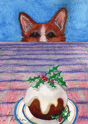 Pembroke Welsh corgi dog orig ACEO mini art Susan Alison yearning Xmas pudding