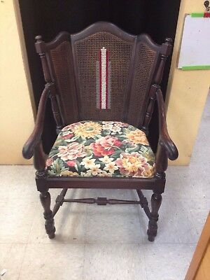vintage Karpen Chicago carved chair with embroidery custom mahogany beauty