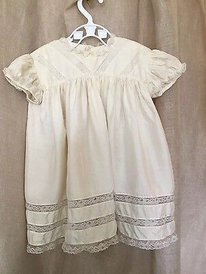 Antique Vintage Christening Gown Exquisite Baby Dress. Silk & Lace.  Ivory VGC
