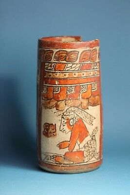 Pre-Columbian MAYAN POLYCHROME POTTERY VASE with SCRIBES & GLYPHS - 600 AD