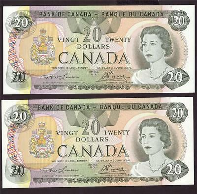 2x 1979 Bank of Canada $20 notes Lawson 50424146220 & 50424146222 UNC63+