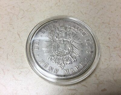 1875 Germany / Kingdom of Saxony 5 Mark - Large Silver Coin
