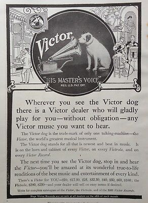 """1909 Ad(G19)~Victor """"his Master's Voice"""" Records And Victrola"""
