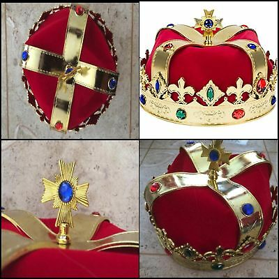 Red Gold Crown King Queen Prince Costume Medieval Royal Party Men Adult Kid