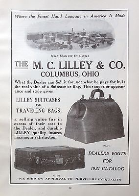 1921 Ad(F29)~The M.c. Lilley & Co. Columbus, Ohio. Lilley Suitcases, Travel Bags