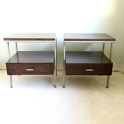 Vintage Vista walnut danish pair mid century modern nightstands end night tables