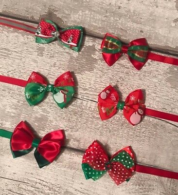 Christmas Bow Tie For Pet Dog Cat Adjustable Xmas Bowtie Collar