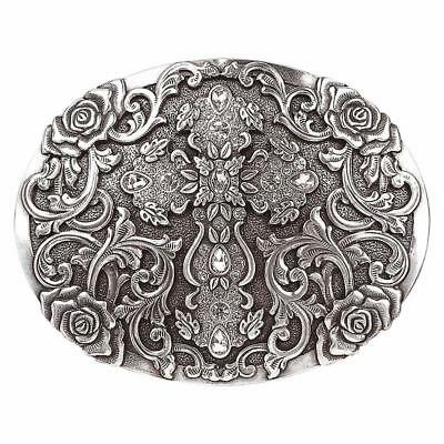 Nocona Western Womens Belt Buckle Rhinestone Cross Silver 37108