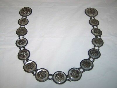 Antique chinese  silver belt mother of pearl hallmarked stunning