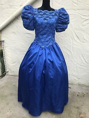 Vtg 80s Party Prom Bridesmaid Dress Blue Lace Size 13/14 Costume