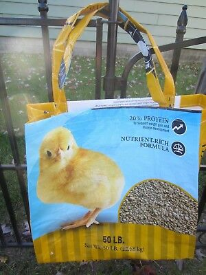 Upcycle~Yellow Chick Starter Recycled Feed Bag~Grocery~Market Tote