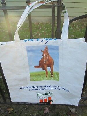 Upcycle~Pace-Maker~Brown Horse~Horse Recycled Feed Bag~Grocery~Market Tote