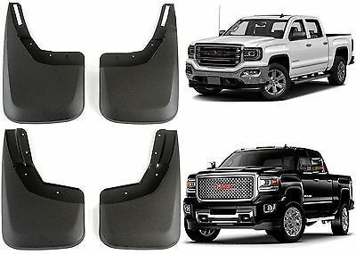 2014-2018 GMC Sierra Front /& Rear Black Grain Molded Splash Mud Guards OEM NEW