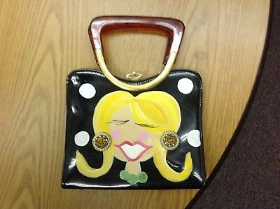 Vintage funky hand painted face cara made in USA vinyl purse no reserve